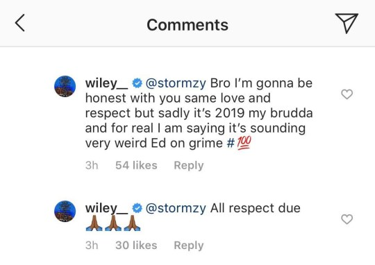 Wiley comments to Stormzy on Instgram