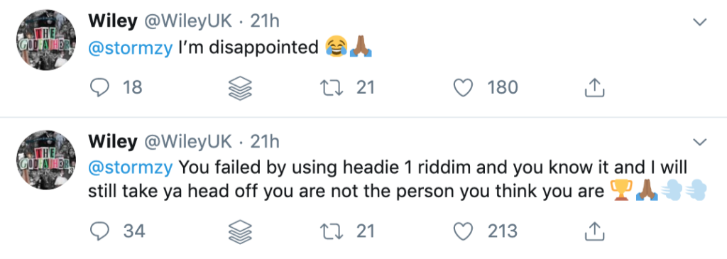Wiley response to Stormzy diss track Headie One