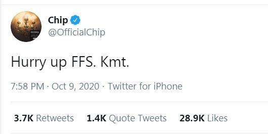 Chip Stormzy hurry up tweet